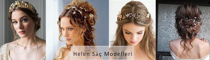 Helen gelin saçı modelleri gösterilmektedir.